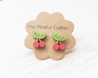 Cherry fruit earrings red cherry jewellery. Cherries Miniature food earrings. Cherry Kitsch burlesque jewellery cherry accessory