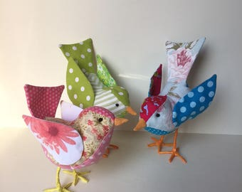Scrap fabric, colourful, birds. Lovely spring and easter decoration.