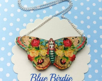 Butterfly necklace butterfly jewelry butterfly gifts for her red butterfly bib necklace butterfly jewellery insect jewelry