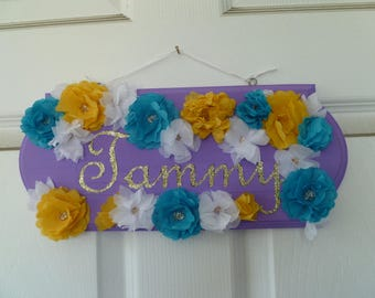 Paper Flower Name Plaque