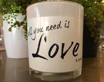 All your need is love & foxtel - Soy candle - Personalised candle - Wedding candle - Love - Romance - Fun gift - Candle - Foxtel