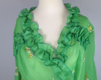 Fabulous Embroidered Ruffles Green 1970s Robe / Kimono / Beach Cover Up
