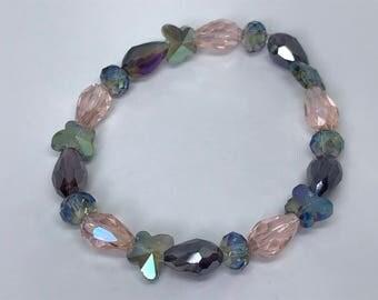 Pink and Purple Butterfly Bracelet