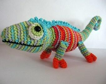 Crochet chameleon Amigurumi chameleon Stuffed toy Handmade Unique toy Lizard crochet colour gift Free shipping
