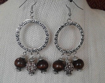 BOHO STYLE Earrings in Silver With  Brown Tone Beads