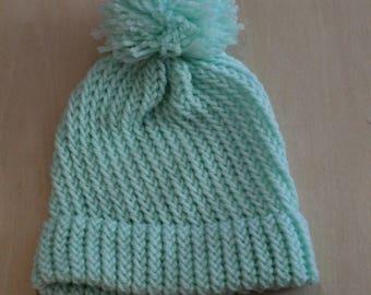 Seafoam green preemie/newborn knit cap with pompom