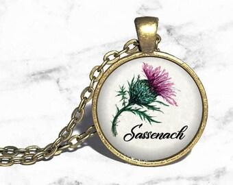 Sassenach Necklace, Scottish Thistle Necklace Bracelet Ring Keychain