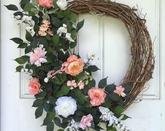 White + Coral + Peach | Spring Wreath | Summer Wreath | Greenery Wreath | Grapevine Wreath | Front Door Wreath