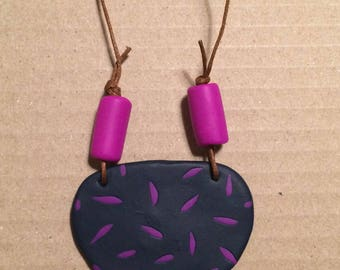 Navy and purple polymer clay necklace