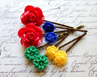 Flower Bobby Pin Set - Carmine Red, Turquoise Green, Yellow and Royal Blue Flower Hair Pins -  Vintage Style Hair Accessories