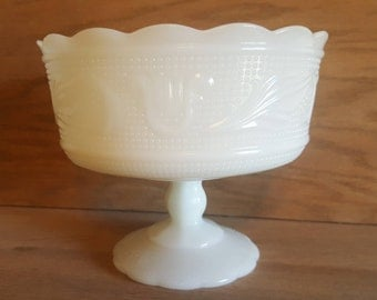 1960's E.O. Brody Vintage Milk Glass Footed Candy Dish / Serving Bowl
