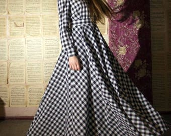 Plaid Maxi Dress Black and White Woman Long Tartan Dress