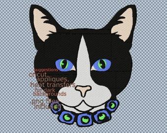 Elegant cat embroidery machine digital files