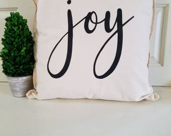 "Handmade/Hand Stenciled Pillow Cover ""Joy"""