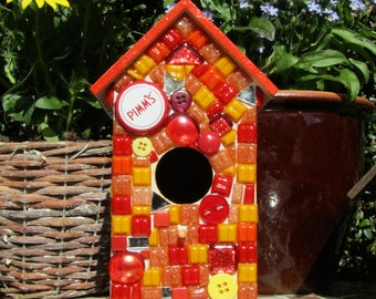 Beautiful handmade Glass MOSAIC Birdhouse / bird box
