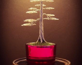 Wire Bonsai #14 - Small silver formal upright tree