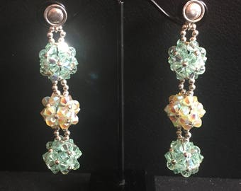 Handmade filigree earrings with Swarovski crystals and silver grains 0925