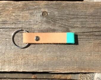 Aqua Colorblock Leather Key Chain