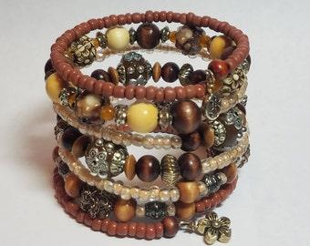 Earth Tone Bracelet | Memory Wire Bracelet  | Wood Bead  Bracelet | Wrap Bracelet | Made To Order