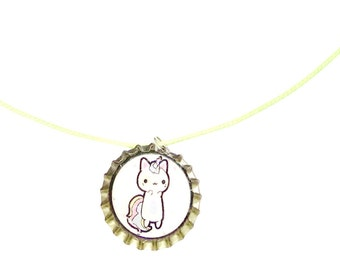 Caticorn Bottle cap necklace
