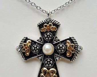 Black Gold Pearl Cross
