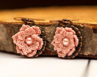 Dusty rose dangle flower earrings Small tiny flower earrings Crochet flower earrings Rustic earrings Wedding floral earrings Bridesmaid gift