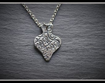 Engraved Spade Pendant - Silver Precious Metal Clay (PMC), Handmade, Necklace - (Product Code: ACM030-17)