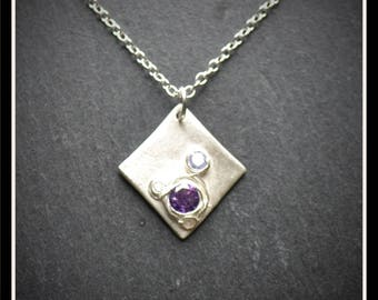 Silver Square Detailed CZ Pendant - Silver Precious Metal Clay (PMC), Handmade, Necklace - (Product Code: ACM066-17)