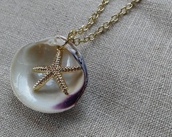 Real wampum shell necklace/pendant with gold starfish charm