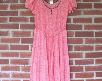 70s Babydoll Dress Red White Polyester Vintage Summer Spring Boho Hippie Scoop Neck Pleated