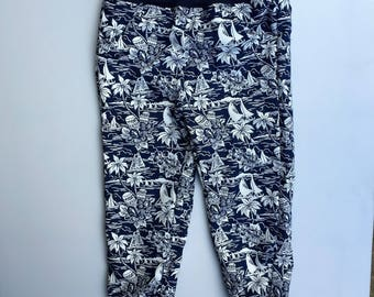 Boys casual pant. Vintage hawaiian print cotton. Size 1,3,4,5