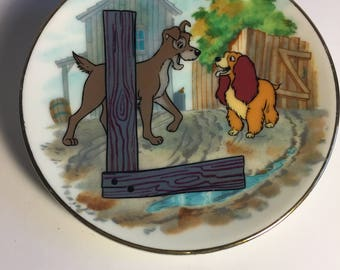 "Disney Letter L for Lady and the Tramp Miniature Porcelain Plate—Vintage, Part of the ""Disney's Alphabet"" Collection—1980s"