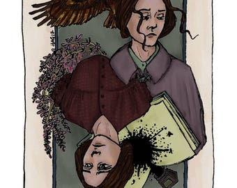 Emily Brontë playing card print