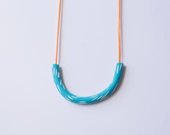 Blue and White Dash Necklace
