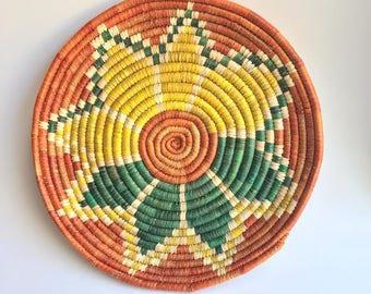 Native American coil basket//bold flower motif basket//unique boho basket//yellow basket//green basket//orange basket//bright vintage basket
