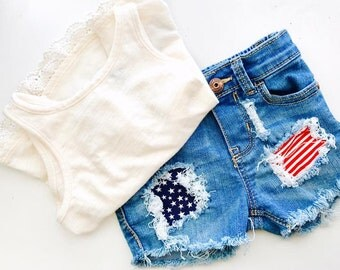 America The Great Distressed Denim Shorts