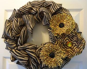 Animal Print Burlap Wreath