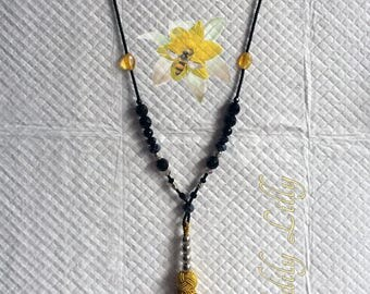 Gold Silver and Black Tassel Necklace