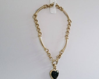 90's Gaudy Black Heart Necklace