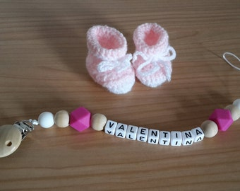 Pink pacifier cord with name