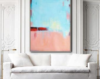 Large Contemporary painting on canvas, vertical contempoaray art, blue, pink, red. FREE shipping. Ethan Hill Art No.H35V