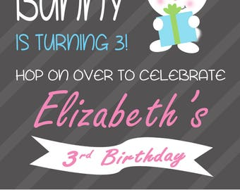 Custom Some Bunny Spring Birthday Party Invitation- Digital Template