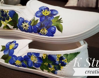 Blue and White Wildflower Handpainted Custom Shoes