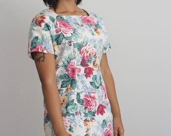 Vintage Floral denim canvas zip-up dress with squares neckline