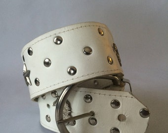 Leather Vintage White Western style belt