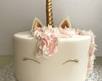 Fondant Unicorn horn and ears Cake topper Set - Unicorn Cake Topper