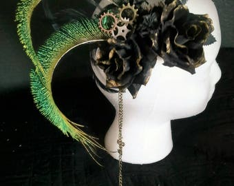Steampunk Gothic Feathered Hair Comb
