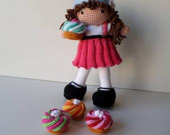 Muñeca de crochet, muñeca amigurumi, muñeca y Magdalena del ganchillo, hecho a mano por mí