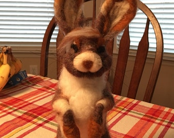 Diva Bunny, Needle Felted, Made to order
