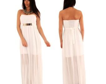 Long ivory/cream strapless, see through bandeau maxi dress, gold plate belt